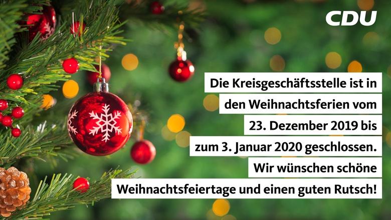 Weihnachtsferien 2019/2020