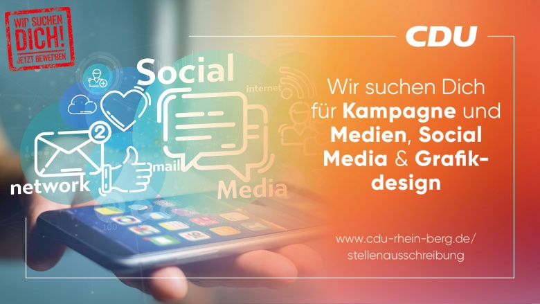Wir suchen Dich für Kampagne und Medien, Social Media & Grafikdesign