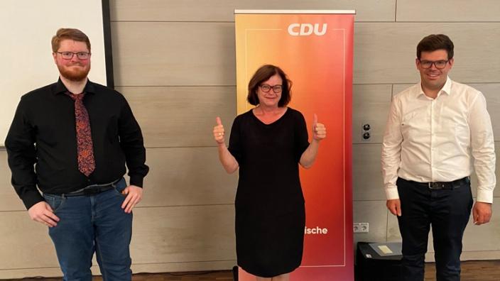 Parteivorsitzender Sebastian Ramünke, Vera Müller und Vorgänger Sebastian Wurth